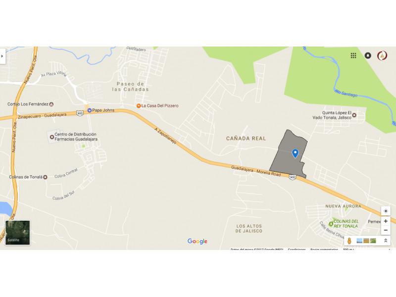 El predio «LOS ENCINOS», con una extensión aproximada de 20 – 35 – 95  héctareas.  Se encuentra ubicado en el municipio de Tonalá. Frente a carretera Guadalajara – Zapotlanejo Lo divide el camino Al Vado. El predio esta a 4,200 mts de Periferico, 2,100 mts del Poblado del Vado. 2,800 mts del Fracc. de paseo de la Cañada, 1,600 mts del Fraccionamiento Puertas del sol, 800 mts del Fracc. Cañada Real y a 600 mts de una bodega ya en funcionamiento. El precio por metro cuadrado en este momento es de $480.- (cuatrocientos ochenta pesos 00/100 M.N) Es muy atractivo, ya que cuenta con frente a la carretera Guadalajara – Zapotlanejo. El terreno, no es ejidal, cuenta ya con escrituras. El retorno se encuentra a 1000 mts. Se vende todo o en partes    1