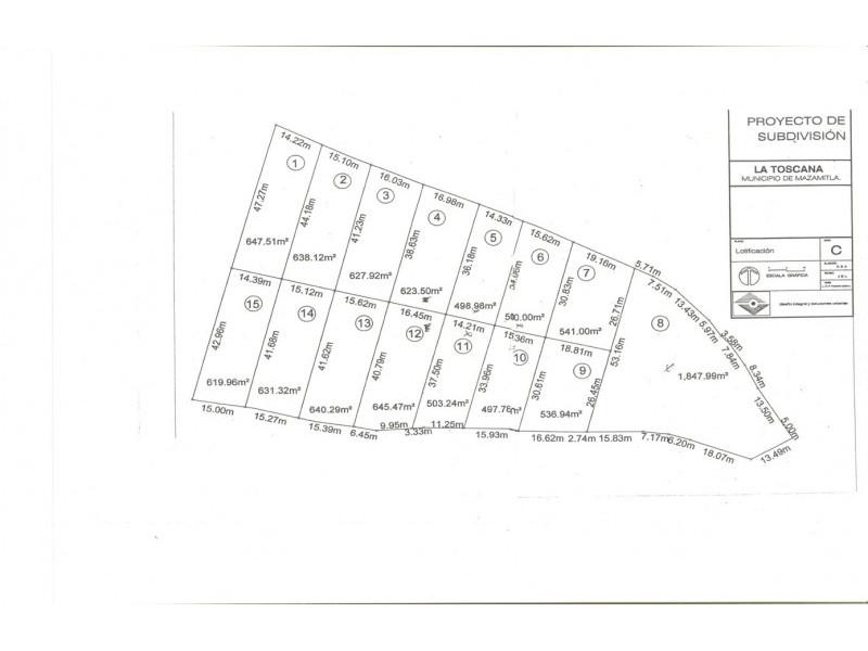 El terreno es irregular, abriendo por la parte posterior a 182 mts Cuenta con subdivision en 15 terrenos de 500 a 650 mts cada uno 18
