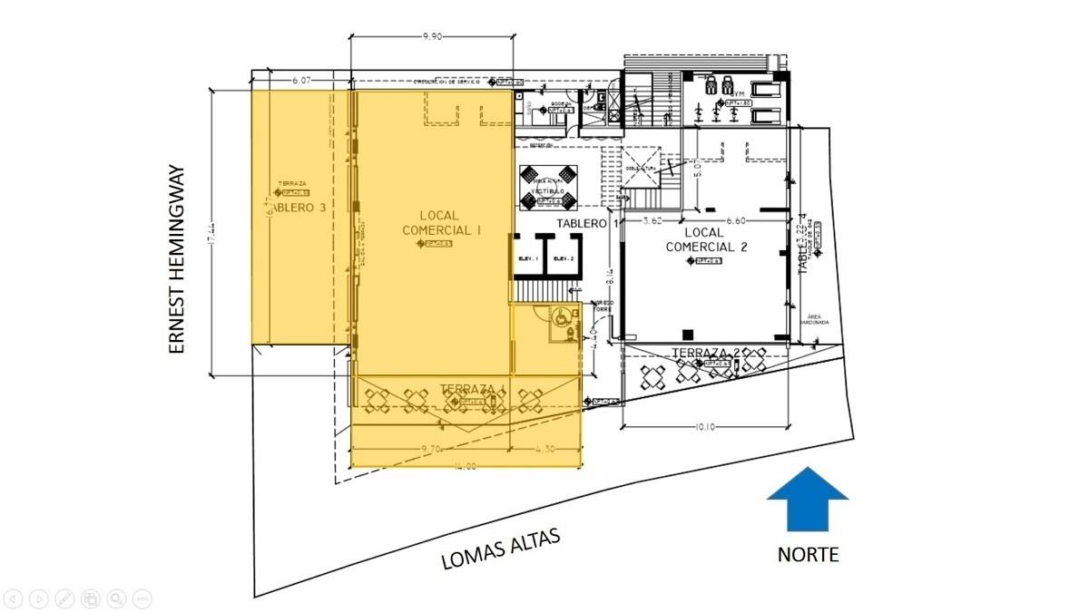 Local comercial ubicado en Lomas Altas, Calle Ernest Hemingway, PREVENTA, ubicado en esquina y en planta baja, cuenta con ingreso a nivel de calle, área techada, terraza lateral y terraza frontal, cuenta con instalaciones para baños.   Area techada 172m2  Terraza 1 101m2  Terraza 2 59m2  Superficie Total 332m2  Precio $ 13,489,684 **Diversos métodos y plazos de pago**  Fecha de entrega Octubre 2019   Precio de lista $13,489,684.00. EasyBroker ID: EB-DQ0009 1