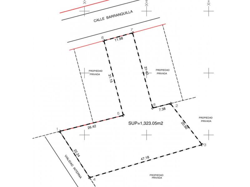Mar Asesores Inmobiliarios ofrece en venta terreno en Colomos Providencia. Superficie de 1323 metros cuadrados. COS .6  CUS 1.8 De acuerdo al plan parcial se pueden construir hasta 6 niveles con 48 departamentos de una superficie de 85 Mts 2 Plan Parcial: 014 / RN / H2  3