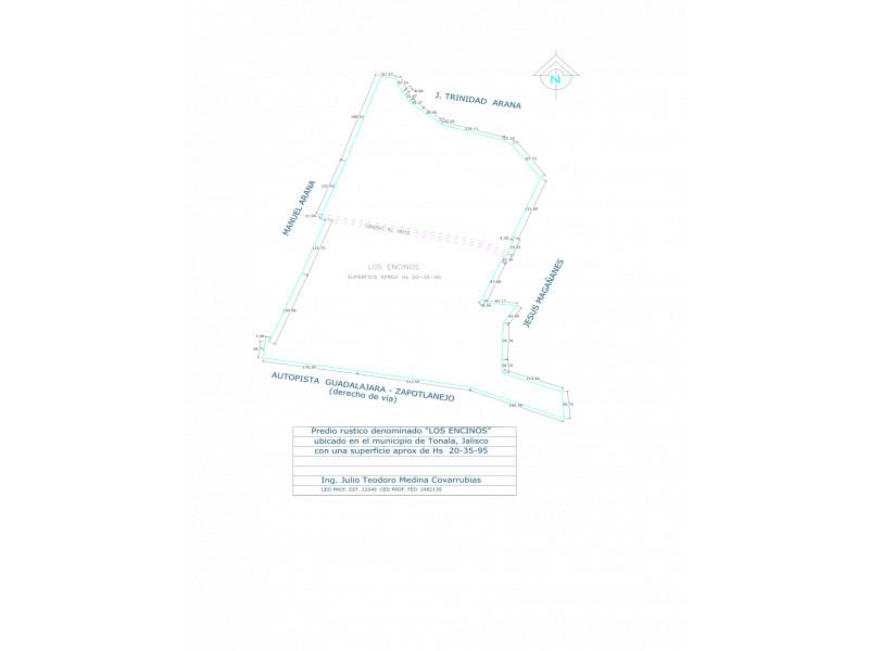 El predio «LOS ENCINOS», con una extensión aproximada de 20 – 35 – 95  héctareas.  Se encuentra ubicado en el municipio de Tonalá. Frente a carretera Guadalajara – Zapotlanejo Lo divide el camino Al Vado. El predio esta a 4,200 mts de Periferico, 2,100 mts del Poblado del Vado. 2,800 mts del Fracc. de paseo de la Cañada, 1,600 mts del Fraccionamiento Puertas del sol, 800 mts del Fracc. Cañada Real y a 600 mts de una bodega ya en funcionamiento. El precio por metro cuadrado en este momento es de $480.- (cuatrocientos ochenta pesos 00/100 M.N) Es muy atractivo, ya que cuenta con frente a la carretera Guadalajara – Zapotlanejo. El terreno, no es ejidal, cuenta ya con escrituras. El retorno se encuentra a 1000 mts. Se vende todo o en partes    3