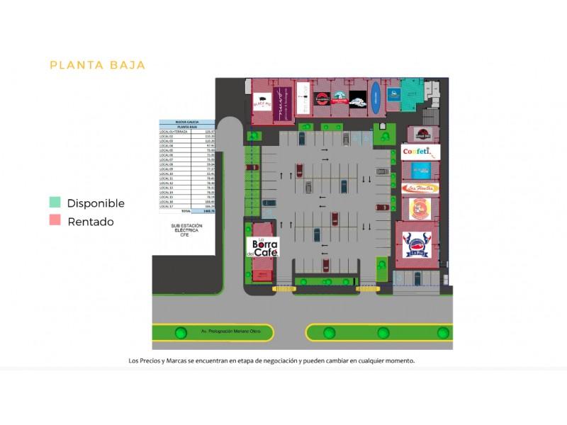 Local Renta Plaza Comercial Nueva Galicia $22,182 K396 E1  Local comercial disponible en Plaza Comercial Nueva Galicia, exclusividad de giros (preguntar por giros disponibles).  Mejora los rendimientos de tu negocio con esta ubicación privilegiada.  Local #9 Planta Baja Superficie: 79.22 m2 Mantenimiento adicional: $2,469 pesos Más IVA  Ubicación de la plaza comercial: Calle Blvd. Prol. Mariano Otero 1518, Nueva Galicia, La Tijera, 45645 Tlajomulco de Zúñiga, Jal.  Características de la plaza:  33 Locales comerciales 4,800 m2 de terreno 2,881 m2 de área rentable 85 Cajones de estacionamiento ENTREGA INMEDIATA  C O N D I C I O N E S:  • Precios de renta estimados más IVA. • Precios de mantenimiento aproximados del $31.16 pesos x m2 más del valor de la renta. • Se respetará exclusividad de Giro. • Las remodelaciones e imagen de fachada de los locatarios deberán ser autorizadas por Naroa. • Se deberá respetar el manual de adecuaciones. • La administración de la plaza se hará por parte de Naroa. *Precios y marcas sujetos a cambios sin previo aviso.  R E Q U I S I T O S:  • Llenar solicitud y presentar carta intensión. • Investigación de buro arrendador • Renta más IVA más cuotas de mantenimiento • Incremento anual de renta según INPC • Pago de 1 mes de depósito en garantía y 2 meses de renta anticipada por la marca a la firma de contrato. • Plazo mínimo de 2 años de contrato • A la firma de contrato pago de 2 meses de renta anticipada y 1 deposito en garantía • Exclusividad de giro • Proporción de días de gracia según m2 rentados para adecuaciones sin pago de rentas ni cuotas de mantenimiento • Fiador con propiedad libre de gravamen. 5