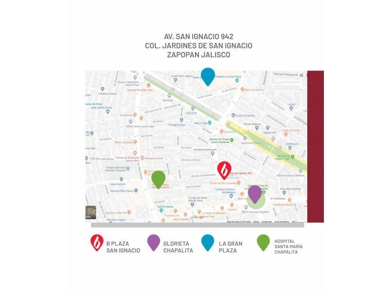 Es un concepto inmobiliario de uso comercial desarrollado por BRADA Grupo Inmobiliario, el cual integra la armonía en cada detalle: Marcas AAA, anclas artificiales y la administración del proyecto a largo plazo.   Ubicada en una de las zonas de gran plusvalía dentro de la zona metropolitana de Guadalajara, como lo es la Colonia Chapalita. B Plaza San Ignacio concentra en sus alrededores la mejor oferta de restaurantes, cafés, escuelas, hospitales y muchco más.  5