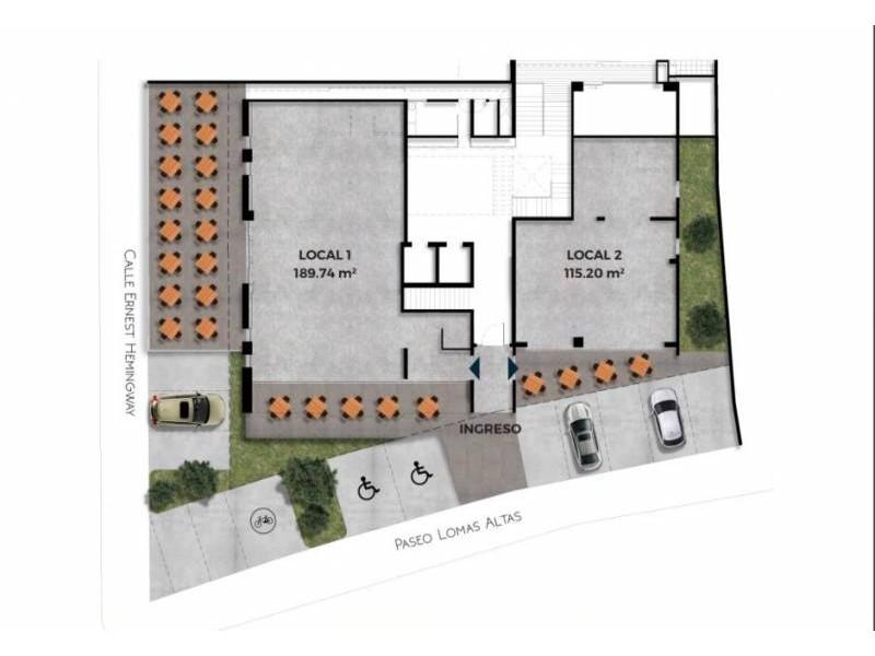 Los locales se encuentran en la planta baja de un complejo de 39 departamentos de primer nivel en una de las mejores zonas de Guadalajara.   Cada local con vista a terrazas exteriores, ciclo-puerto, terraza, áreas verdes. Así mismo los locales cuentan con 12 lugares de estacionamiento.   Características:  Local 1: Precio de Renta $96,000.  Oportunidad de Venta $11,629,000 más IVA. 33.35 mts de frente.  189.74 m2 techados más 142.35 m2 de terraza, área total: 332.09 m2. Altura 4.90 mts.  Local 2: Precio de Renta $46,000. Oportunidad de Venta $5,607,000 más IVA. 9.90 mts de frente.  115.20 m2 techados más 30.43 m2 de terraza, área total: 145.63 m2. Altura 4.90 mts.  Se entregan en obra gris con salidas hidráulicas - sanitarias y eléctricas. Muros de concreto celular y piso firme de concreto.    Se analizan propuestas de financiamiento directo y aceptamos créditos bancarios 4
